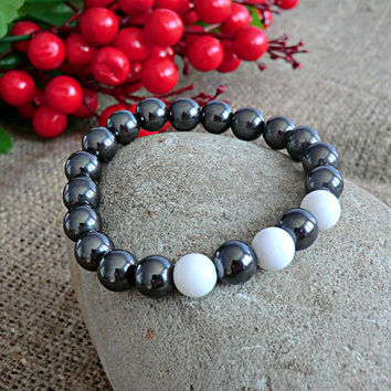 Men Bracelet White Bracelet Men Jewelery Hematite Bracelet Stone Bracelet Mens gift Bracelet for men