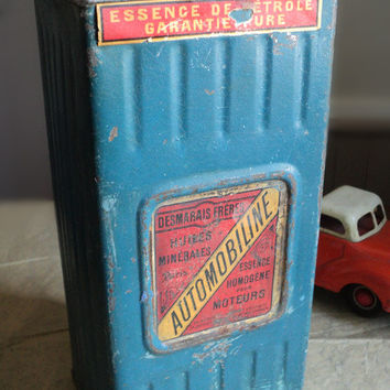 French Automobiline Liter Oil Tin, Oil Can, Motor Oil Can, Industrial decor, Loft Decor, Blue Can, French Vintage Can, Desmarais Gas Can