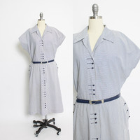 Vintage 1950s Shirt Front Dress - Blue & White Striped Chevron Full Skirt Day Dress 50s - XL Extra Large