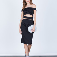 Banded Midi Party Dress