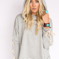 Raw Laced Up Hoodie In Gray