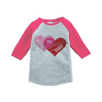 Custom Party Shop Girl's Mommy + Daddy = Me Valentine's Vintage Baseball Tee