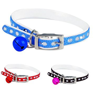Cute Adjustable Dog Cat Pet Supplies Buckle Faux Leather Neck Collar with Bell