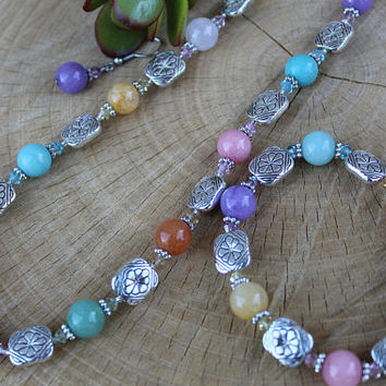 SALE !! Spring Necklace Set, Swarovski Crystal and Semi Precious Set, Natural Stone & Crystal Set, Multi Color Jewelry, Gift for Her, Easter