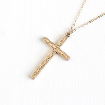 Vintage 12k Rosy Yellow Gold Filled Geometric Cross Necklace - 1940s Crucifix Etched Religious Catholic Pendant on Gold Filled Chain Jewelry