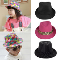 New Fashion Boy Girl Jazz Hat Topper Cool Fedora Curly Brim Baby Kids Cap Unisex Elegant Headwear
