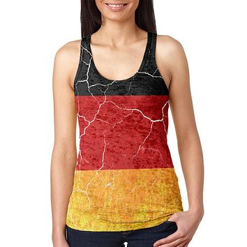 Oktoberfest Distressed Grunge German Flag Juniors Burnout Racerback Tank Top
