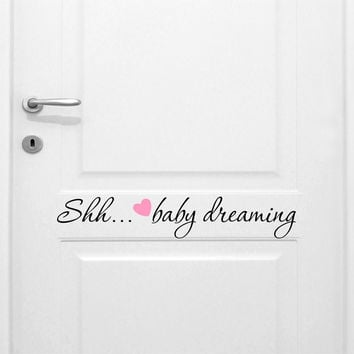Shhh…baby Sleeping Girl's Quote Vinyl Wall Decal Sticker