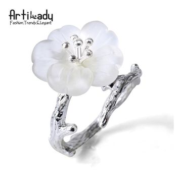 Artilady 925 sterling silver rings handmade tree branch design white crystal ring for women party gift jewelry
