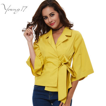 Young17 autumn Fashion notched collar 3/4 sleeve yellow female shirts OL office Formal elegant women's blouse plus size bow tops