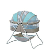 Karley Bassinet Sleeping Basket Crib Canopy For Infant Baby New Born, Blue/Grey