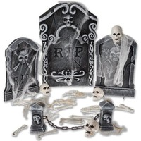 Halloween Decoration Graveyard Tombstone Set Prop Outdoor Yard Lawn Decor Spooky