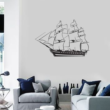 Vinyl Decal Wall Sticker Sailing Ship Frigate Pirate Kids Room Unique Gift (g041)