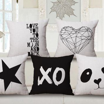 Panda Black White Contracted Geometric LOVE Couples Emoji Pillow Massager Decorative Pillows  Cover Home Decor Gift