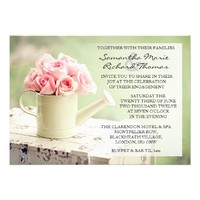Rustic Pink & Mint Country Garden Engagement Personalized Announcement