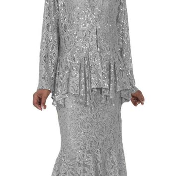 CLEARANCE - Hosanna 5084 Plus Size 3 Piece Set Silver Tea Length Dress (Size 3XL)