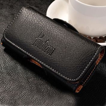 New Top Grade Universal Holster Skin Waist Hanging Belt Clip Leather Pouch Cover Case For Bluboo Maya