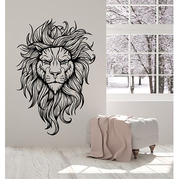 Vinyl Wall Decal Lion Head Predator Aggressive King Tribal Stickers Mural (g2663)