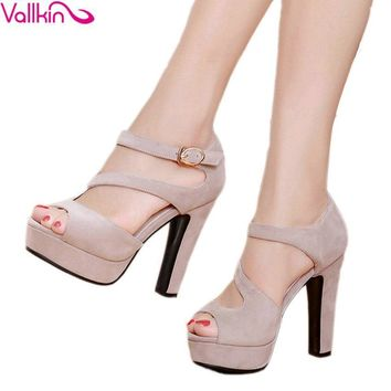 VALLKIN 2017 Buckle Strap High Heel Woman Pumps Sexy Peep Toe Gladiator Summer Women S