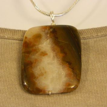 90ct. Mixed Brown Color Stone, Semi Precious, Agate, Pendant, Necklace, Rectangle, Natural Stone, 108-15