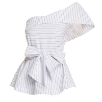 Chicloth White Black Thin Stripe One Shoulder Bow Tie Blouse