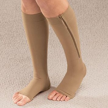 Women Zipper Compression Socks Zip Leg Support Knee Sox Open Toe Sock S/M/XL