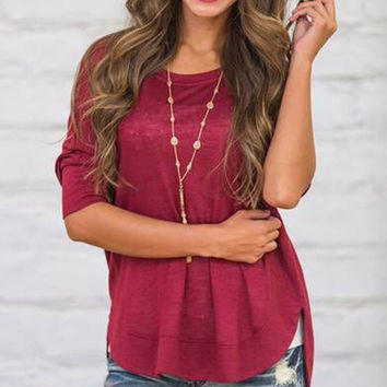 Wine Red Countryside Asymmetric Top