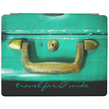 cool retro suitcase detail ipad cover with text