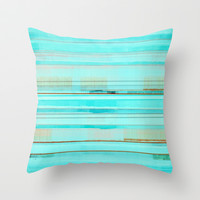 Turquoise and Brown Abstract Throw Pillow by T30 Gallery
