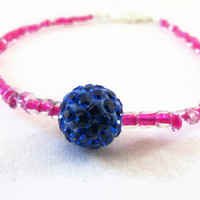 Pink and blue stacking bracelet , pink lined seed bead with glittery blue shamballa bead beaded simple bracelet , uk seller