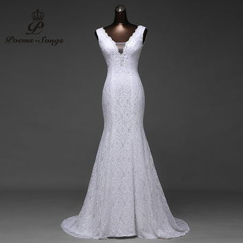 Free shipping  very beautiful  lace Sexy  romantic mermaid  wedding dress backless vestidos de noiva robe de mariage ball gowns