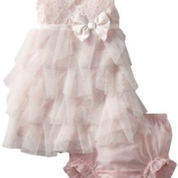 Biscotti Baby-girls Newborn Tea for Two Dress, Ivory/Pink, 3 Months