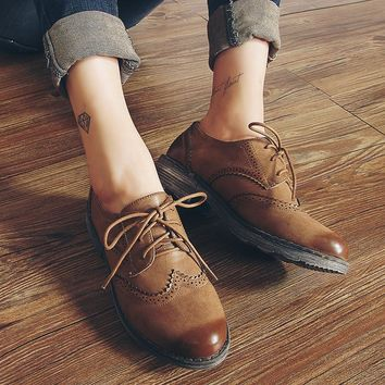 Flats Fashion Brogue Oxford Women Shoes