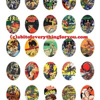 horror monsters movie comics collage sheet 30mmx40mm oval cameos clip art digital downloadable graphics images pendant printables
