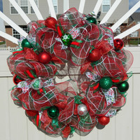 Traditional Christmas Wreath - Red & Green Deco Mesh