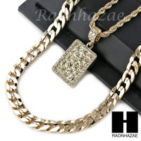 "ICED OUT 21 SAVAGE NUGGET CHARM DIAMOND CUT 30"" CUBAN CHAIN NECKLACE SET G19"