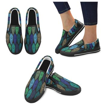 Feathers Peacock Women's Slip-on Shoes