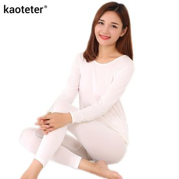 80% Silk 20% Cotton Women's Long Johns Sets Women Winter Autumn Warm Home Clothing Thermal Underwear Female Body Suits