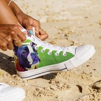 Boston Terrier High Top Canvas Shoes