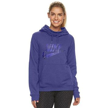 Nike Women's Sportswear Funnel Neck Hoodie Dark Purple Dust