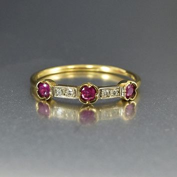 Vintage English Ruby and Diamond Band Ring