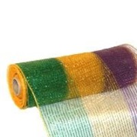 10in Wide x 30ft Long Purple/ Green/ Gold Deluxe Stripe Mesh Ribbon