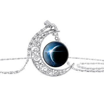 Moon and Earth - Interstellar Crystal Stone Chain Necklace Pendant