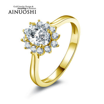 AINUOSHI 10K Solid Yellow Gold Women Wedding Ring Oval Cut Simulated Diamond Anel de ouro Female Engagement Rings Customized