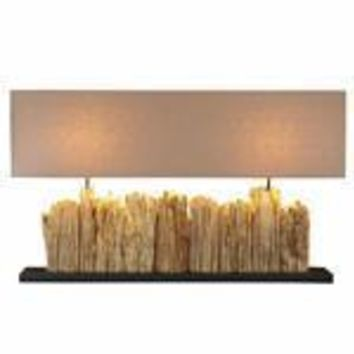 GrandeVertico Riverine Driftwood Table lamp with two socket