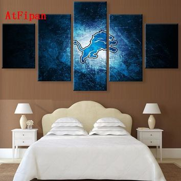 AtFipan Modular Paintings On The Wall Art Detroit Lions Sports Logo Oil On Canvas Photo Prints Vintage Painting Canvas Posters