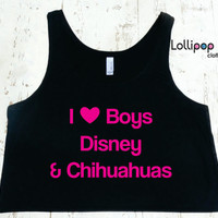 I Heart Love Boys Disney and Chihuahuas Boxy Tank. Funny Sexy.  Walt Disney parody. Womens crop top. Workout crop top, gym tank.