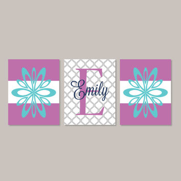 Teen Girl Wall Art Room Decor Floral Flower Teal Violet Monogram Name Initial Set of 3 Prints Or Canvas College Dorm Girl Decorations