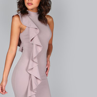 Purple High Neck One Sided Frill Dress