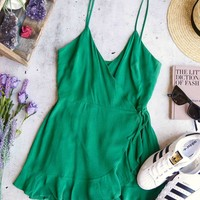 honey belle - soft rayon wrap romper dress - green